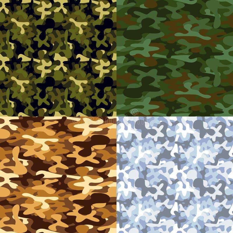 Uppsättning av sömlösa modeller för militär kamouflage stock illustrationer