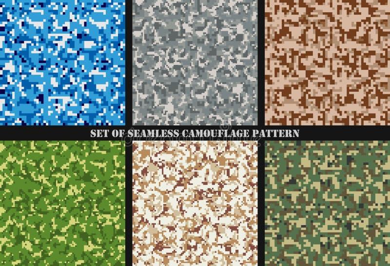 Uppsättning av sömlösa modeller för Multicam kamouflage Militär bakgrund och textur Camo kläder också vektor för coreldrawillustr vektor illustrationer