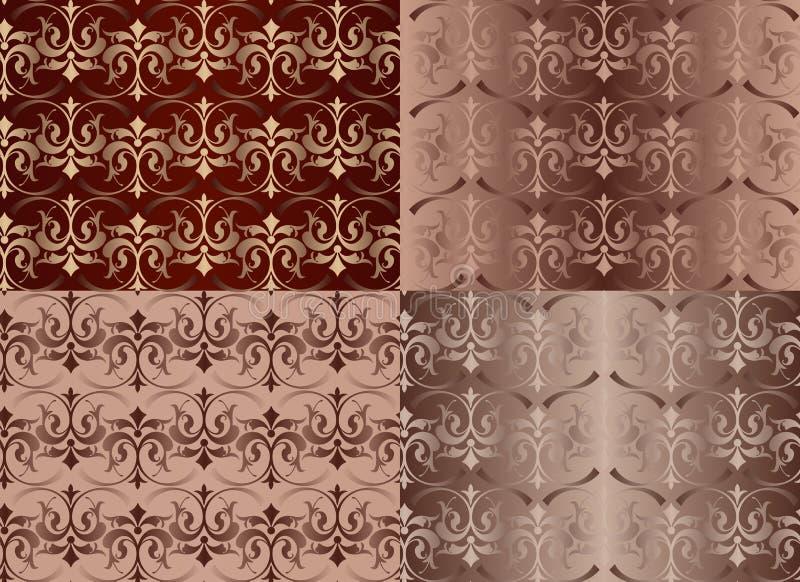 Uppsättning av sömlösa modeller för tappningprydnader med blommadesigner i illustration för vektor för bakgrund för Damascus stil stock illustrationer