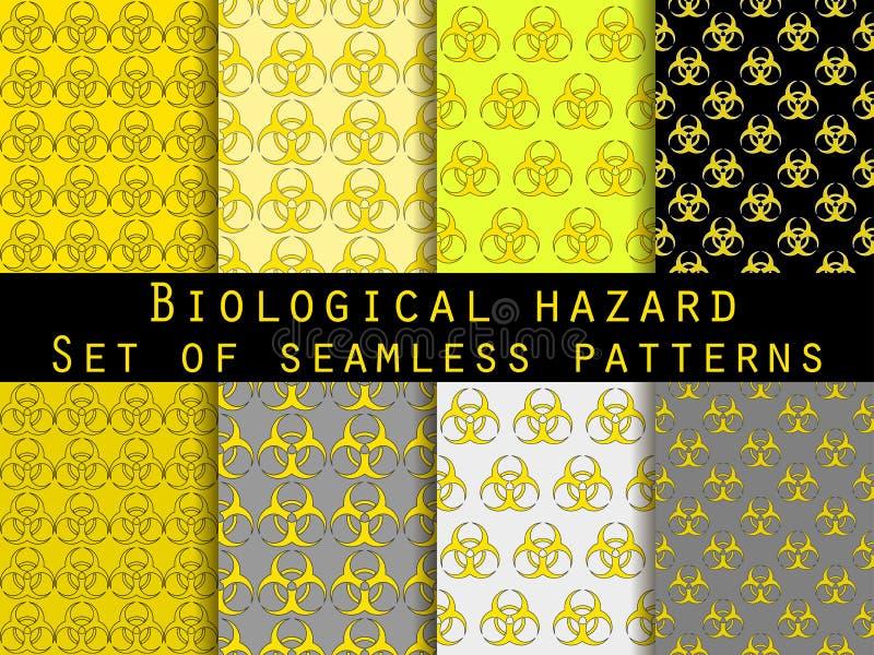 Uppsättning av sömlösa modeller med biohazardsymbol För tapet sänglinne, tegelplattor, tyger, bakgrunder vektor illustrationer
