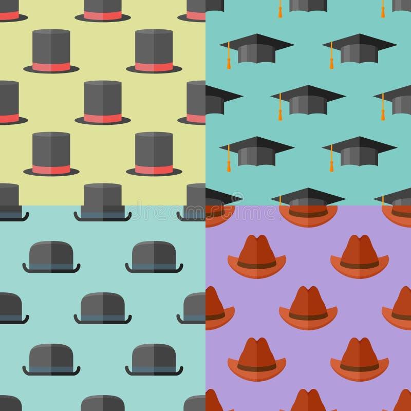 Uppsättning av sömlösa modeller med hattar Version med prövkopiatext royaltyfri illustrationer