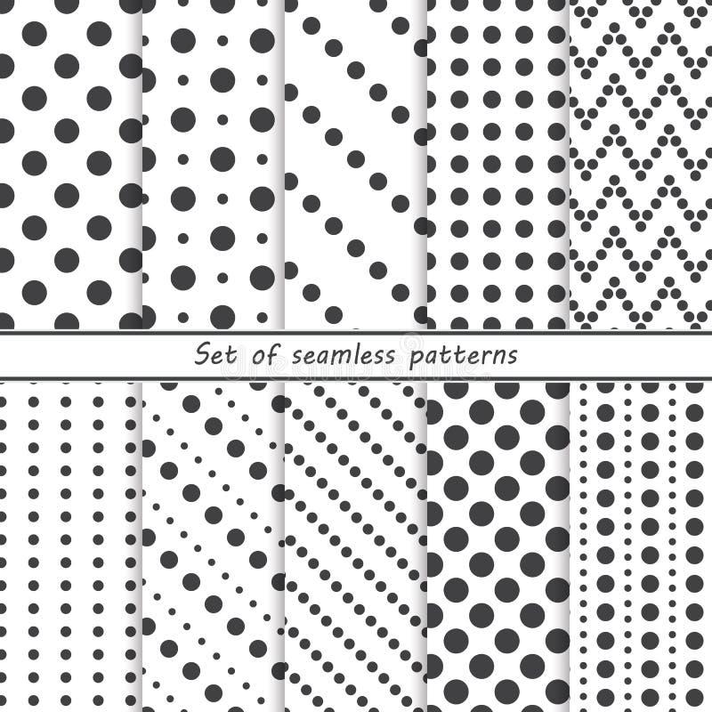 Uppsättning av sömlösa modeller med prickar, cirklar stock illustrationer