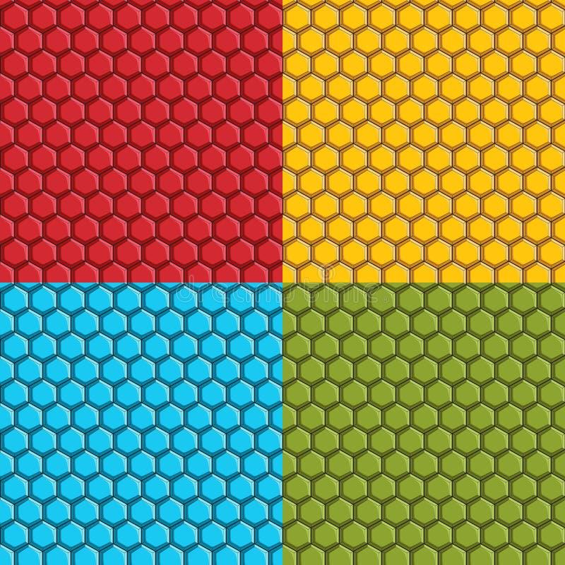 Uppsättning av sömlösa modeller med sexhörniga tegelplattor Färgrika bakgrunder vektor illustrationer
