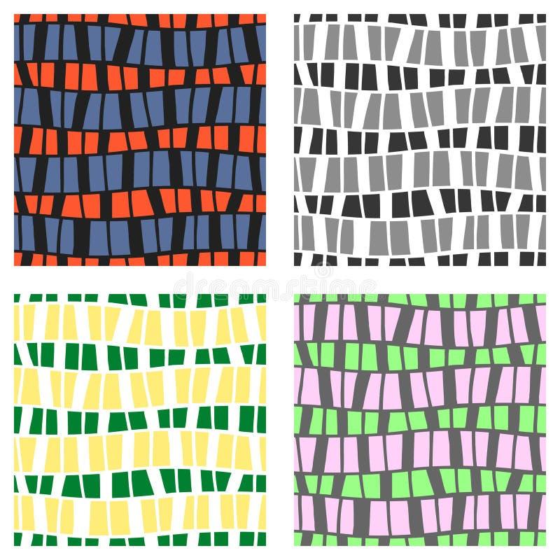 Uppsättning av sömlösa vektormodeller Färgrik geometrisk bakgrund i grå färger, gräsplan, rosa färg färgar Grafisk illustration U vektor illustrationer