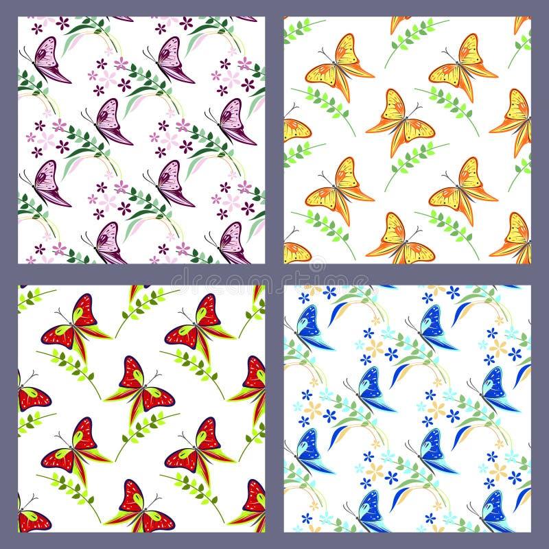 Uppsättning av sömlösa vektormodeller med kryp, färgrika bakgrunder med fjärilar vektor illustrationer