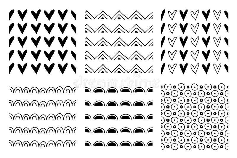 Uppsättning av sömlösa vektormodeller Svartvita geometriska ändlösa bakgrunder med hand drog geometriska former, trianglar, circ royaltyfri illustrationer