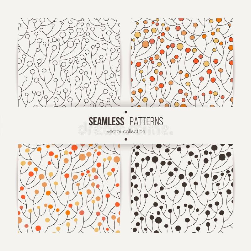 Uppsättning av sömlösa vektormodeller av utsmyckade växter med bär eller sidor vektor illustrationer