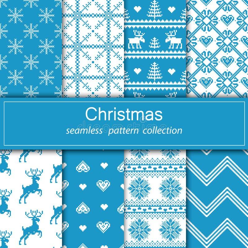 Uppsättning av sömlöst tyg Åtta kanfaser Tillfället Glad jul och lyckligt nytt år PIXEL royaltyfri illustrationer