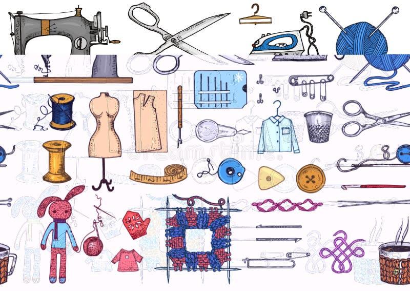 Uppsättning av sömnadhjälpmedel och material eller beståndsdelar för handarbete Handgjord utrustning Skräddaren shoppar för etike vektor illustrationer