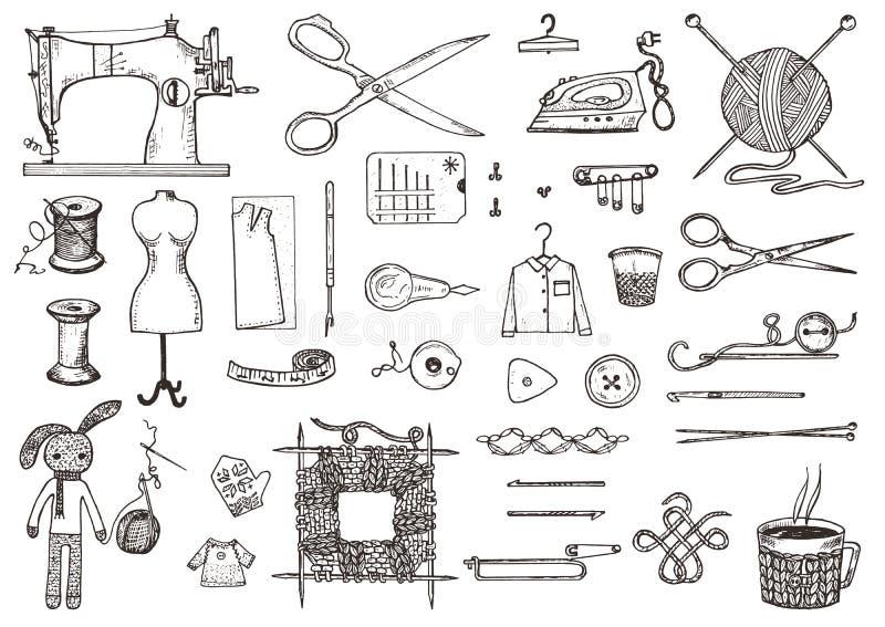 Uppsättning av sömnadhjälpmedel och material eller hjälpmedel för att sticka eller virkning för handarbete Handgjord utrustning S vektor illustrationer