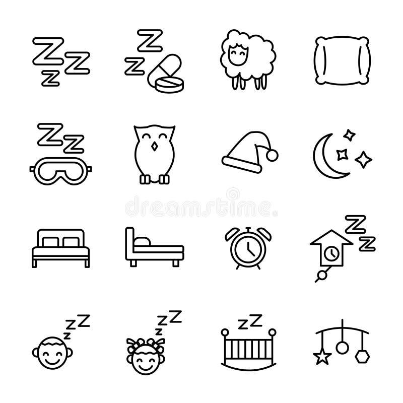 Uppsättning av sömnsymboler i den moderna tunna linjen stil royaltyfri illustrationer