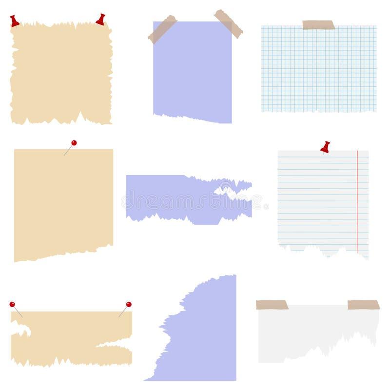Uppsättning av sönderrivet papper med olika häftstift element som scrapbooking tappning vektor illustrationer