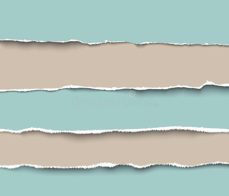 Uppsättning av sönderrivna hantverkpappersstycken med grova kanter royaltyfri illustrationer