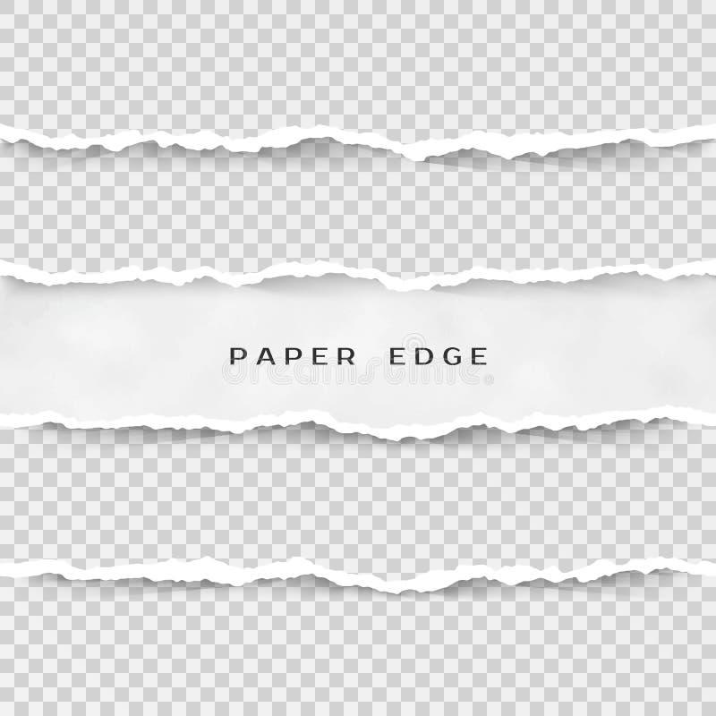 Uppsättning av sönderrivna pappers- band Pappers- textur med den skadade kanten som isoleras på genomskinlig bakgrund också vekto stock illustrationer