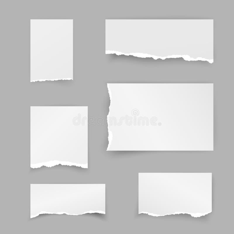 Uppsättning av sönderrivna pappers- stycken Restpapper Anmärka remsan med skugga som isoleras på grå bakgrund vektor vektor illustrationer