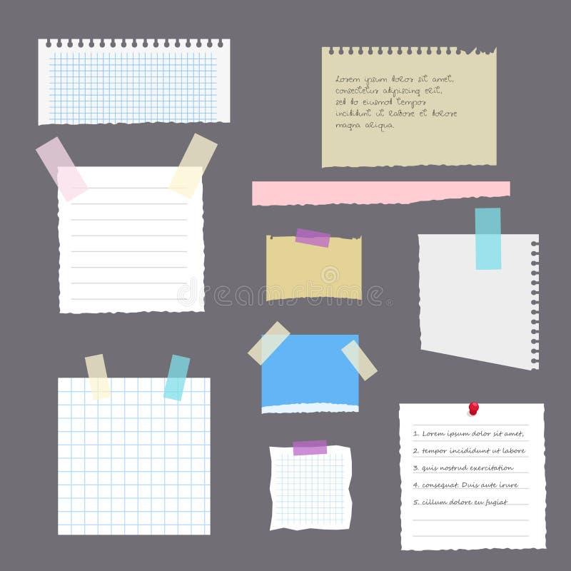 Uppsättning av sönderrivna sidor med anmärkningar från en anteckningsbok, en dagbok eller ett album som klistras med tejpen Vekto stock illustrationer
