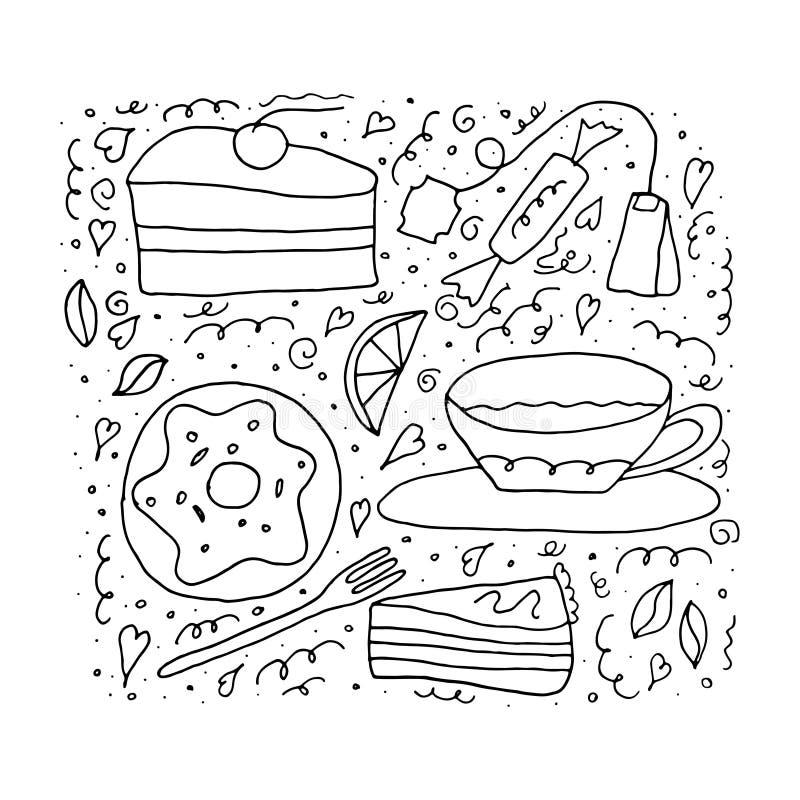 Uppsättning av sötsaker och kakor Tetidbegrepp på en vit bakgrund för färgläggningdiagram för bok färgrik illustration royaltyfri illustrationer
