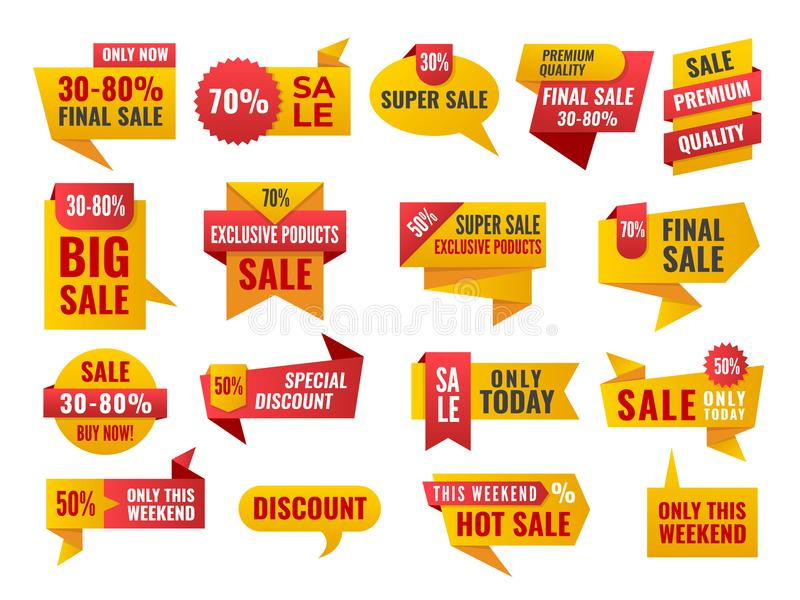 Uppsättning av Sale och bästa primaa emblem och etiketter vektor illustrationer
