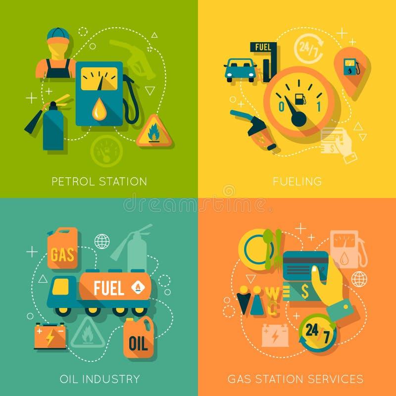 Uppsättning av sammansättning för bensinstation stock illustrationer