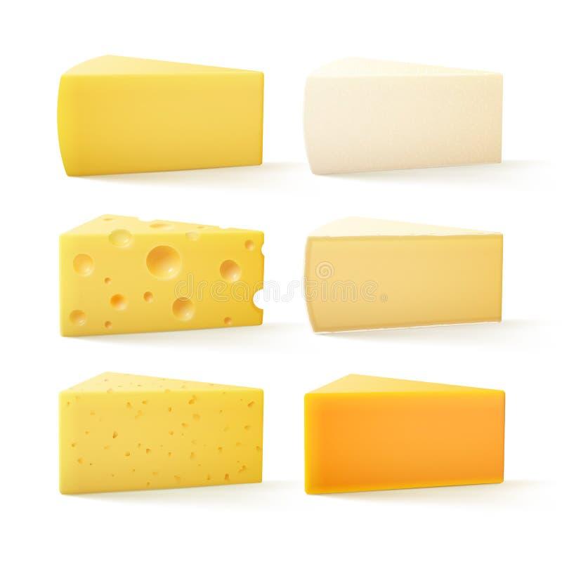 Uppsättning av schweizisk cheddar Bri Parmesan Camembert för ost på bakgrund stock illustrationer