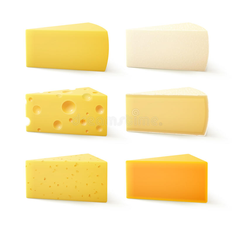 Uppsättning av schweizisk cheddar Bri Parmesan Camembert för styckost stock illustrationer