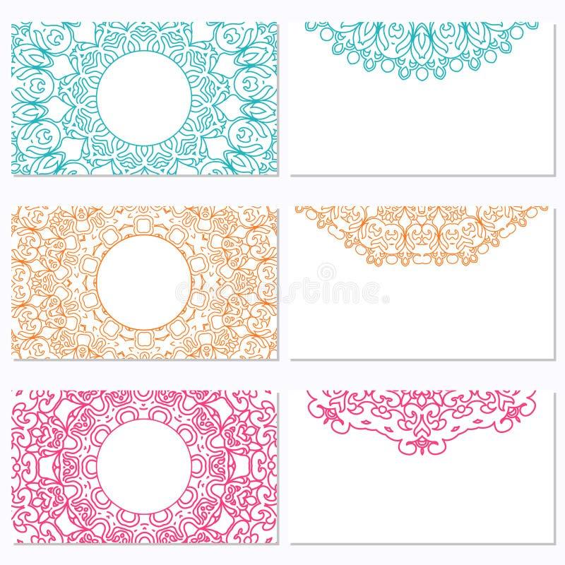 Uppsättning av sex affärskort med mandalaen Vecto för företags identitet vektor illustrationer