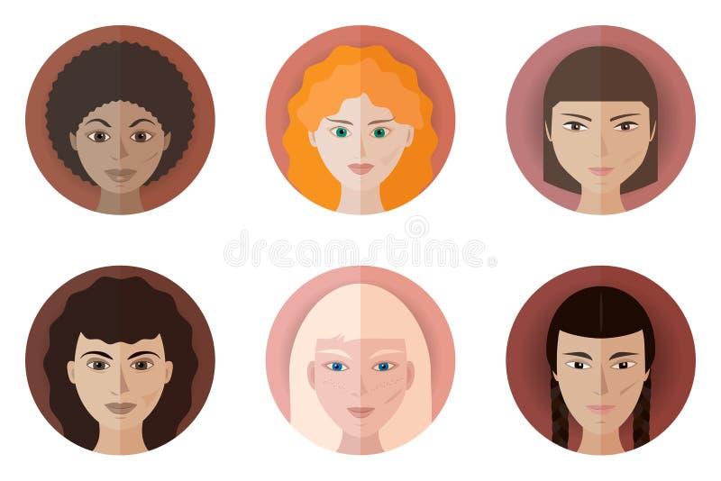 Uppsättning av sex avatars av tonårs- flickor av olika lopp och nationaliteter stock illustrationer