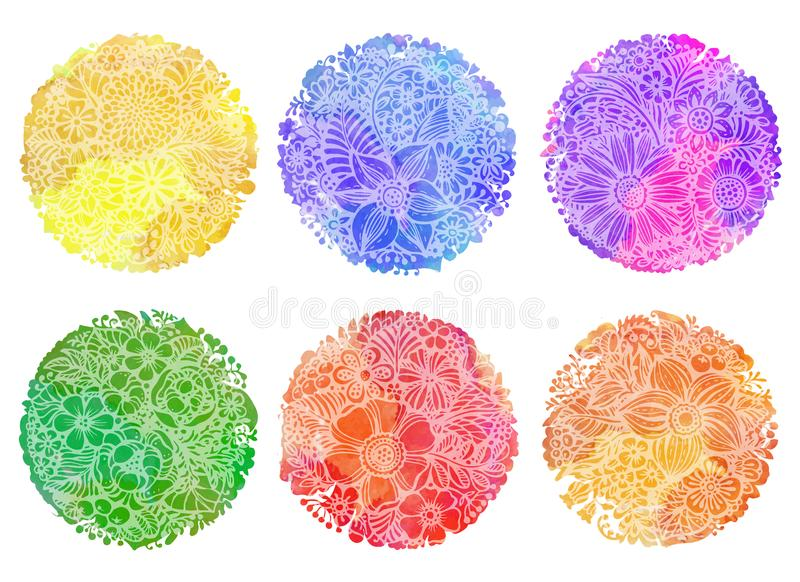 Uppsättning av sex cirkelwwtercolorbakgrunder royaltyfri illustrationer