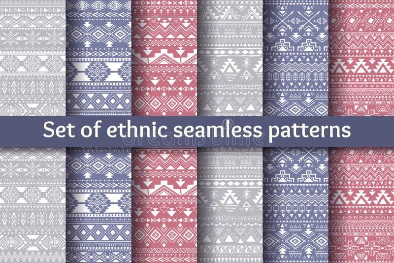 Uppsättning av sex etniska sömlösa modeller stock illustrationer