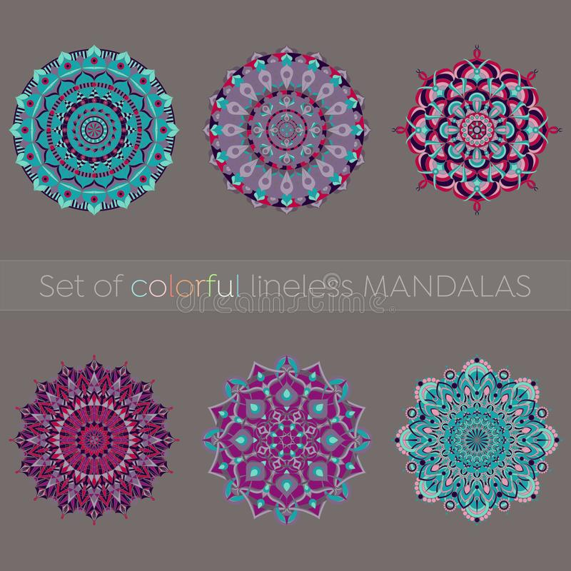 Uppsättning av sex färgrika mandalas royaltyfri illustrationer