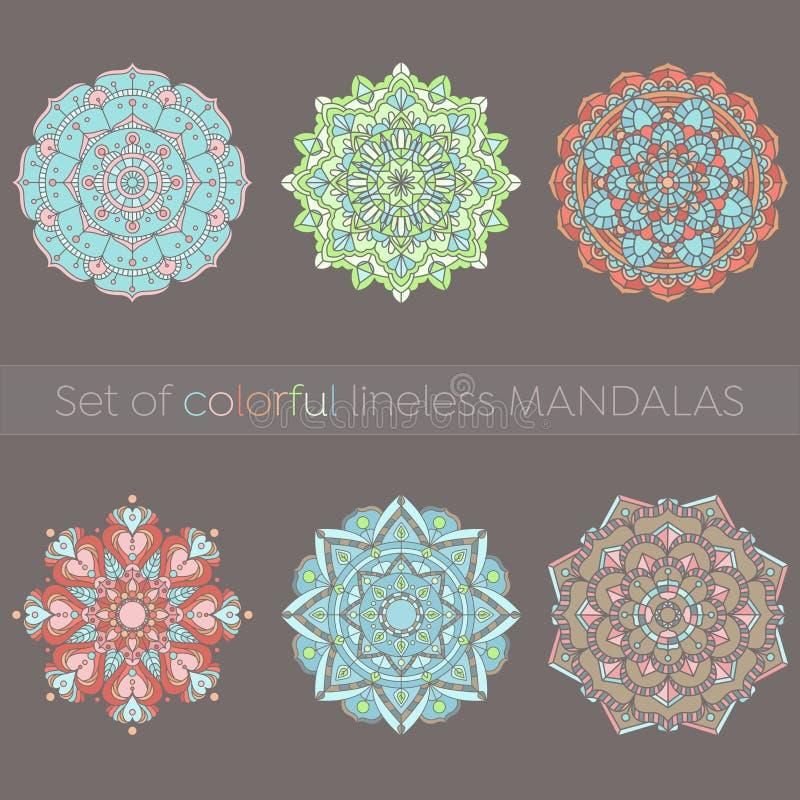Uppsättning av sex färgrika mandalas vektor illustrationer