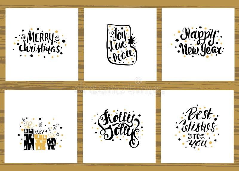 Uppsättning av sex feriehälsningkort med unik handskriven bokstäver Julkortsamling också vektor för coreldrawillustration royaltyfri illustrationer
