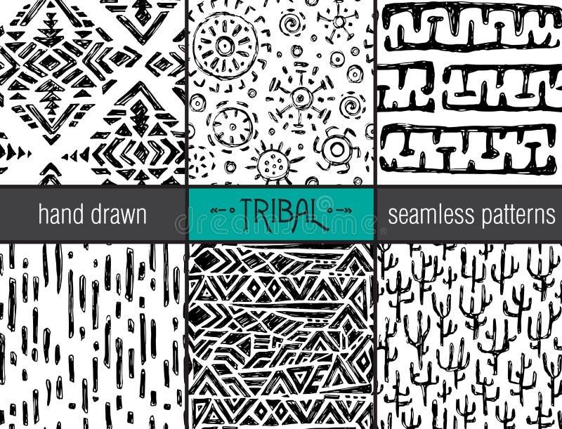 Uppsättning av sex hand drog stam- sömlösa svart och whitepatterns royaltyfri illustrationer