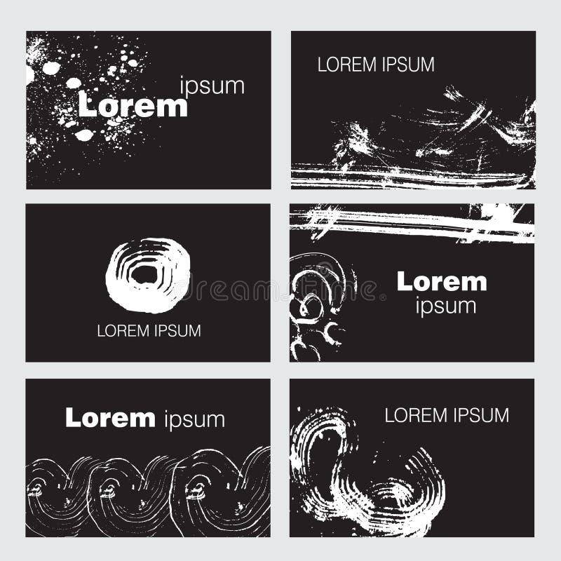 Uppsättning av sex idérika mallar för affärskort stock illustrationer