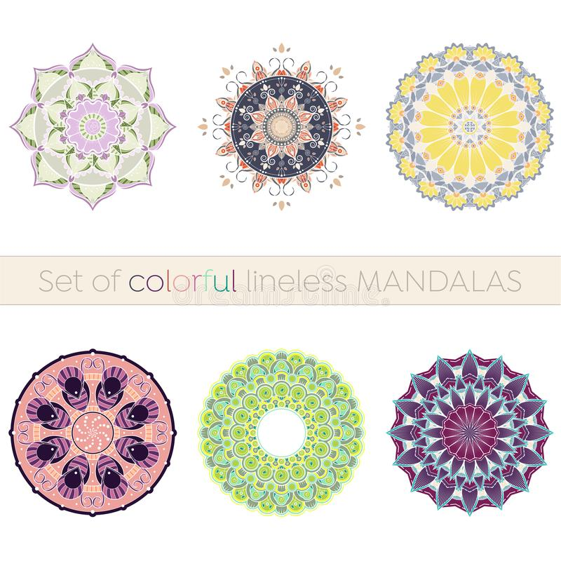 Uppsättning av sex invecklade lineless färgrika mandalas vektor illustrationer
