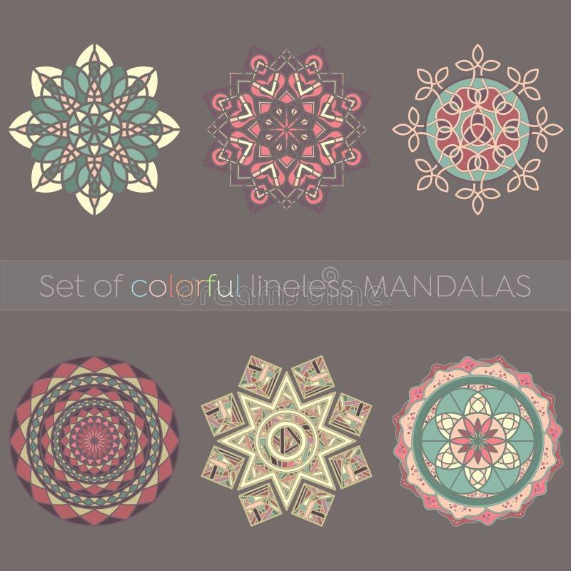 Uppsättning av sex invecklade lineless färgrika mandalas stock illustrationer