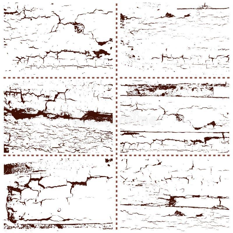 Uppsättning av sex isolerade modeller av sprickor Grunge- eller tappningdesignbeståndsdelar stock illustrationer
