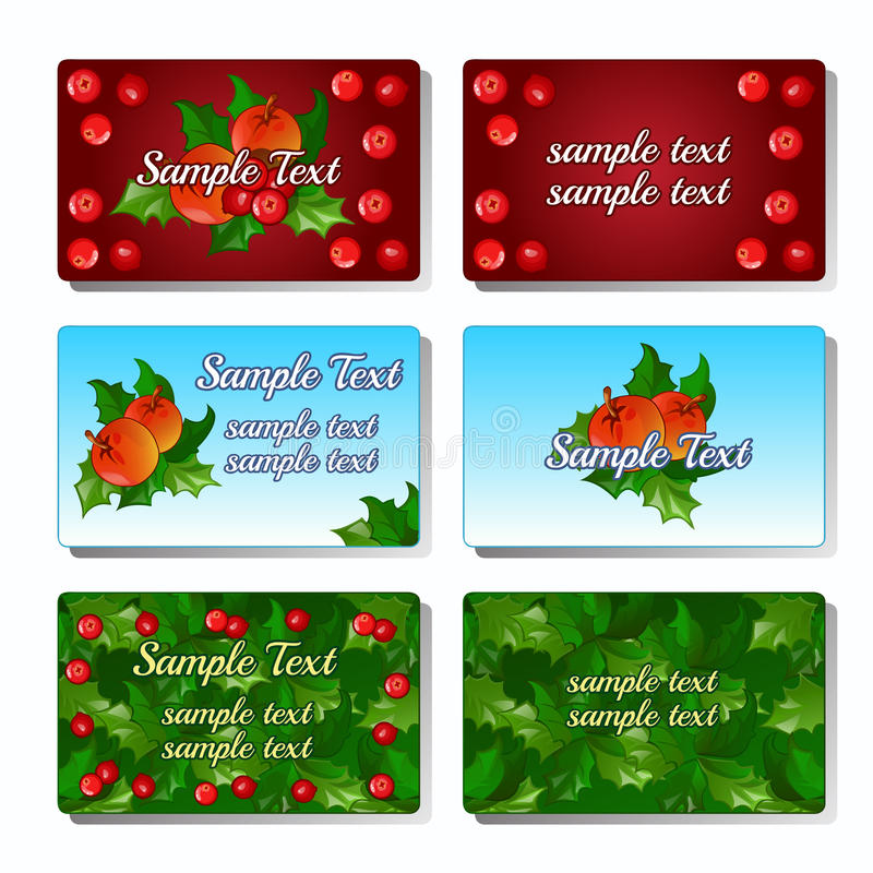 Uppsättning av sex kort med järnekbäret och frukt royaltyfri illustrationer