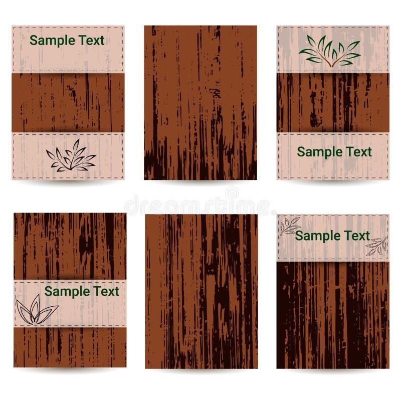 Uppsättning av sex kort Trä texturera placera text royaltyfri illustrationer