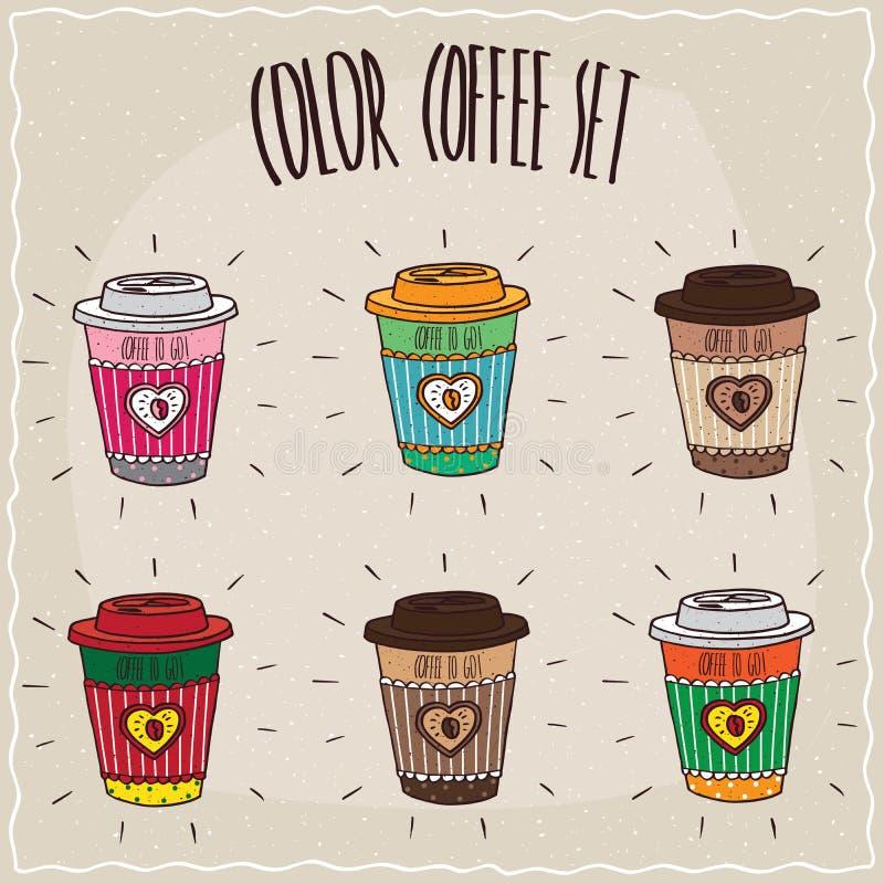 Uppsättning av sex olika gulliga pappers- kopp kaffe vektor illustrationer
