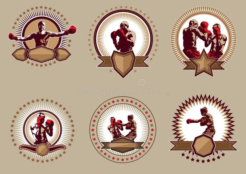 Uppsättning av sex runda boxningsymboler eller emblem royaltyfri illustrationer