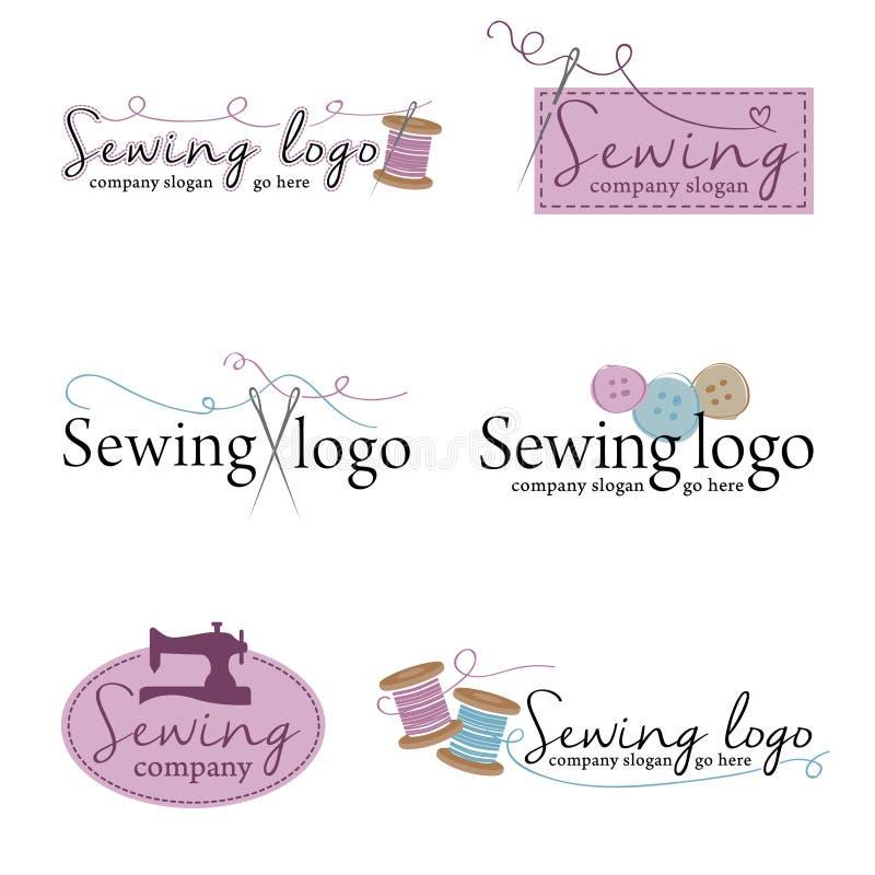 Uppsättning av sex sy logoer vektor illustrationer