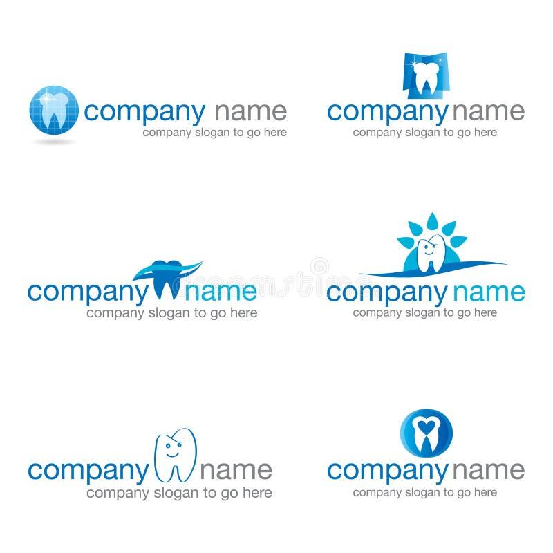 Uppsättning av sex tand- logoer stock illustrationer