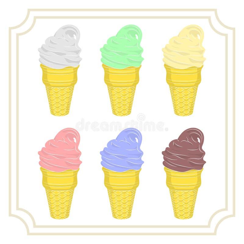 Uppsättning av sex typer av glass i en dillandekopp Mjölka, pistaschen, choklad, jordgubben, melon och bär royaltyfri illustrationer
