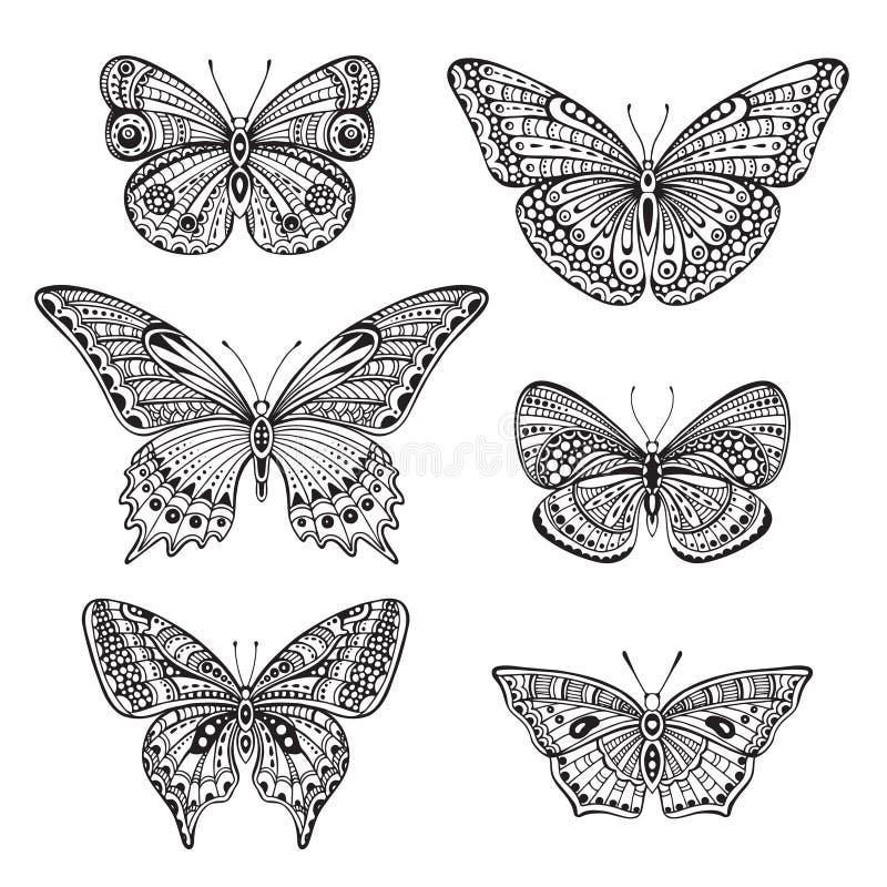 Uppsättning av sex utsmyckad drog fjärilar för klotter hand stock illustrationer