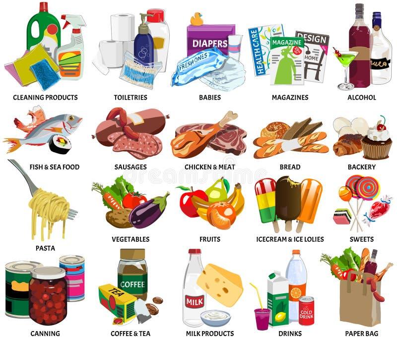 Uppsättning av sextiofyra supermarketsymboler royaltyfri illustrationer