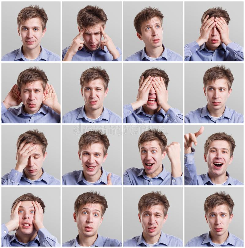 Uppsättning av sexton bilder av ung man med olika gester och sinnesrörelser royaltyfri bild