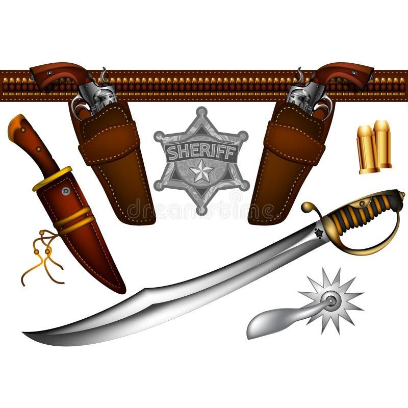 Uppsättning av sheriffvapen vektor illustrationer