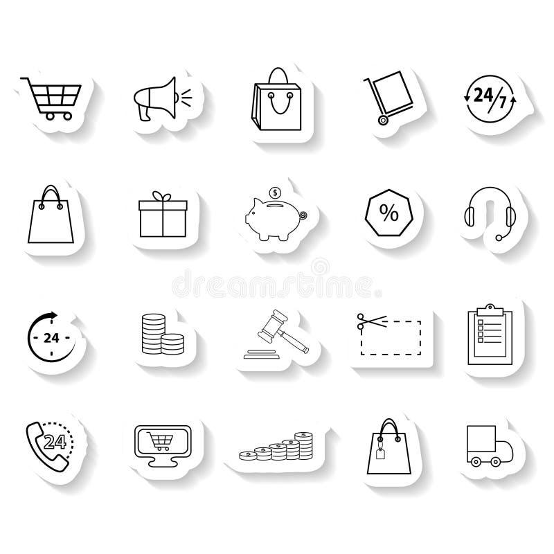 Uppsättning av shoppingklistermärkesymboler royaltyfri illustrationer