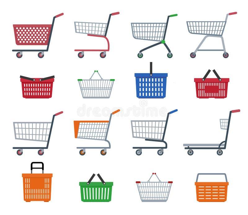 Uppsättning av shoppingspårvagnar och shoppingkorgar stock illustrationer